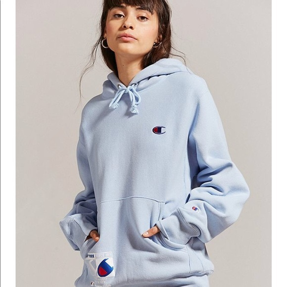 Champion x UO novelty baby blue hoodie